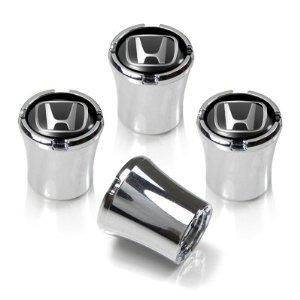 Honda Silver Logo Chrome Tire Stem Valve Caps