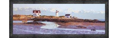 (Poster Palooza Framed Goat Island Light II- 36x12 Inches - Art Print (Black Barnwood Frame))