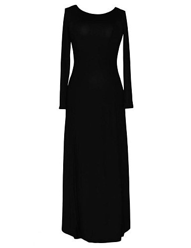 PU&PU Robe Aux femmes Trapèze Sexy , Couleur Pleine Col Arrondi Maxi Polyester / Spandex , black-l , black-l