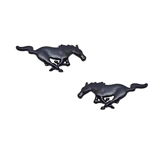 - 2pc 3D Metal Running Pony Horse Emblem Stickers Car Decal Decor For Ford Mustang Black