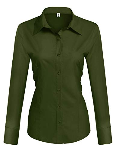Hotouch Womens Long Sleeve Collared Button Down Basic Solid Cotton Shirt Army Green ()