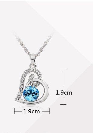 J&F - Collier femme avec pendentif cœur et cristaux Swarovski Crystal, plaqué Rhodium