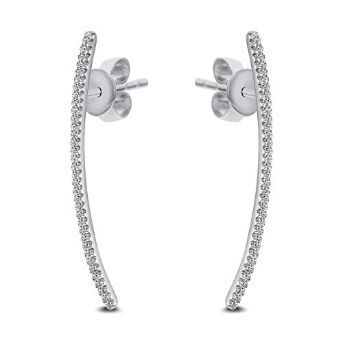 DIAMOND COUTURE 14K White Gold 0.10 Carats of Sparkling White Diamonds Curved Stick Earrings, Diamond Earrings for Women