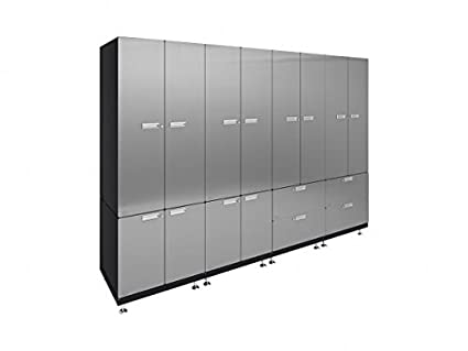 Hercke Kit 7 Basic Locker Wall Garage Cabinet System U2013 10 Piece Stainless  Steel Modular Storage