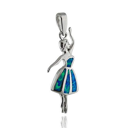 Blue Opal Ballerina Pendant - 925 Sterling Silver - Dance Ballet Theater - Jewelry Accessories Key Chain Bracelets Crafting Bracelet Necklace Pendants]()