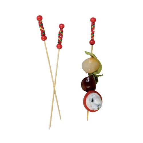 """""""FUJI'' Bamboo Pick with Natural Beads and Red Design (Case of 2000), PacknWood - Biodegradable Wood Skewer Sticks for Appetizers, Drinks (4.4'') 209BBFUJI by PacknWood (Image #3)"""