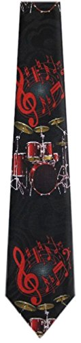 - DR-200 - Black - Red - Mens Drums Necktie