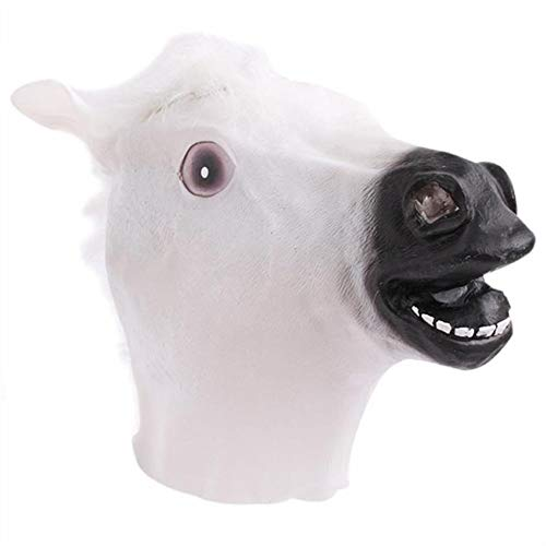 Kinue Brand New and Creative Latex Horse Head Mask Novelty Party Decoration Halloween Costume Party Mask Decor (Color : White) ()