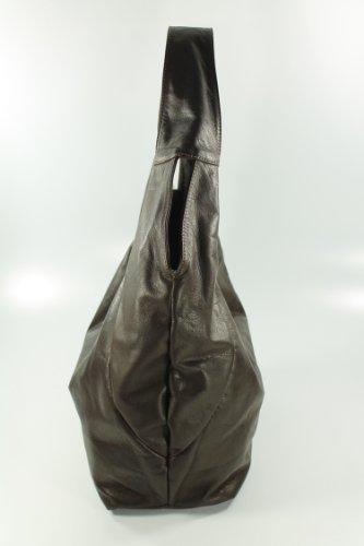 """BELLI® """"Bellissima"""" ital. Nappaleder Shopper Beuteltasche dunkel braun XL - 34x23(mittig)x17 cm (B x H x T)"""