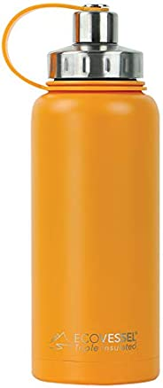 EcoVessel Boulder TriMax Vacuum Insulated Stainless Steel Water Bottle with Versatile Stainless Steel Top and