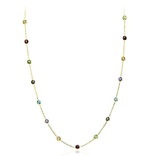 14K Yellow Gold Handmade Station Necklace With 4 MM Gemstones (16, 17, 18, and 20 Inches) ()