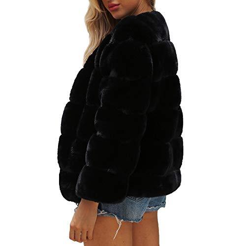 Winter Parka Faux Capispalla Ladies Solid Jacket Fur Womens Gradient Coat Ciciyomer Nero Warm xv8f6pTw