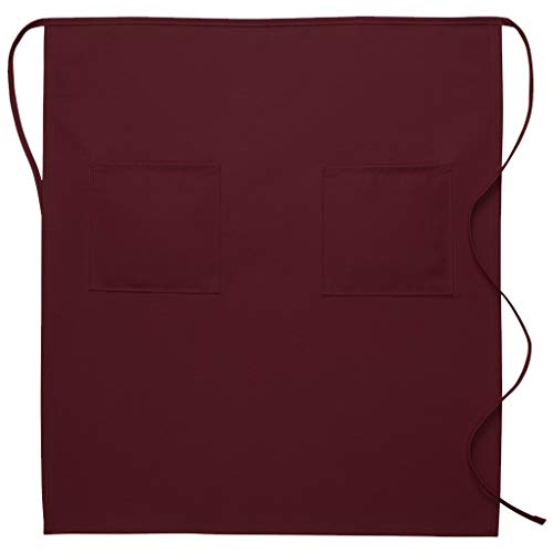 (DayStar Apparel 122 Two Patch Pocket Full Bistro Apron (12 Pack), Maroon)