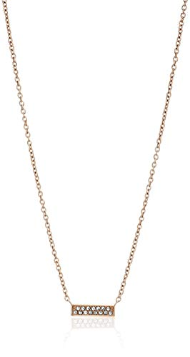 Pendant Rose Fossil (Fossil Women's Rose Gold-Tone Stainless Steel Glitz Necklace, One Size)