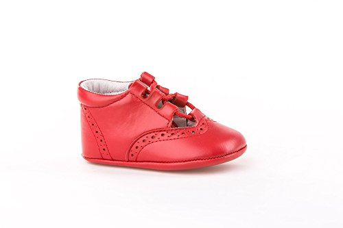 Patucos Inglesitos para Bebé Todo Piel, mod.256. Calzado infantil Made in Spain, Garantia de calidad. Rojo