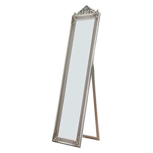 Milton Greens Stars Camilla Wooden Standing Mirror with Decorative Design, Silver, Silver
