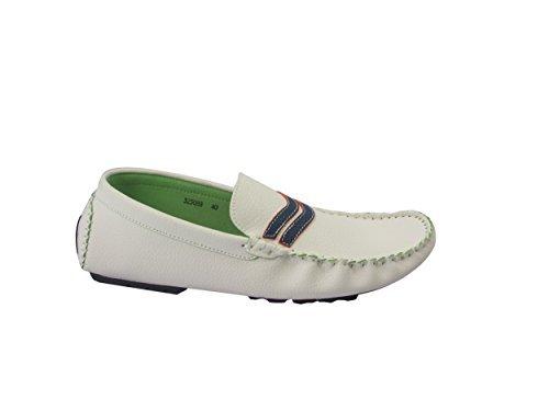 da uomo elegante Casual Bianco & Navy Mocassini Designer Da Nfilare Per La Guida Scarpe Fashion Moccassini MISURA
