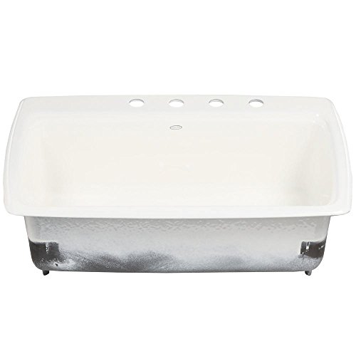 (KOHLER Cape Dory Drop-in Cast Iron 33 in. 4-Hole Single Bowl Kitchen Sink in White)