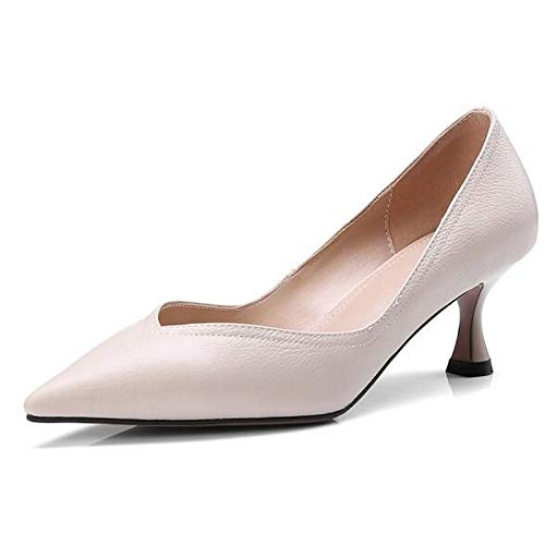Stiletto Heel Black Leather Spring Shoes Women's Nappa Beige ZHZNVX Pump Heels Basic Black 8tvzqnw