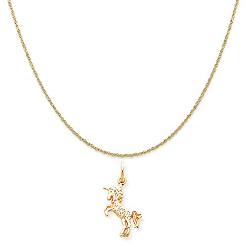 Mireval 10k Yellow Gold Baby Unicorn Charm on a 14K Yellow Gold Rope Chain Necklace, 16