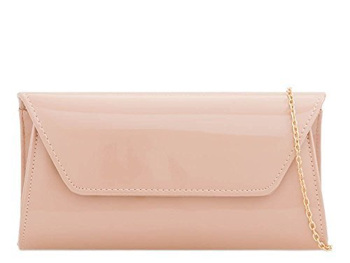 Evening Patent Envelope Bag Party Ladies Plain Nude Leather Clutch aIwxqwPFU