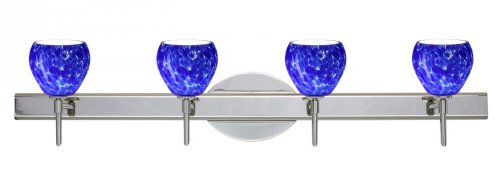Cloud Tay Tay Four - Besa Lighting 4SW-560586-CR 4X40W G9 Tay Tay Wall Sconce with Blue Cloud Glass, Chrome Finish