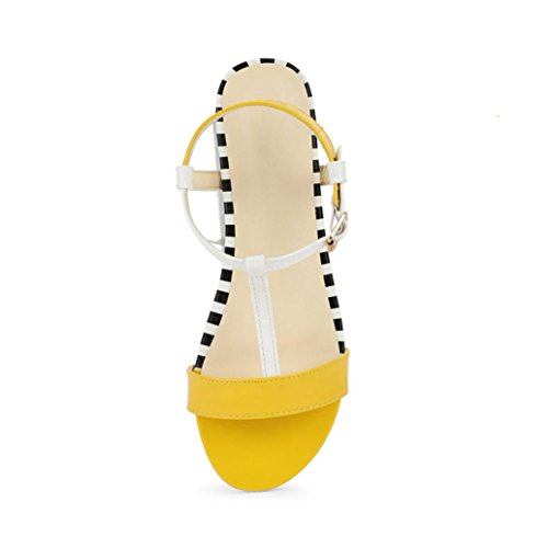 Womens Casual Flat Sandals Shoes WuyiMC Summer Round Toe Breathable Peep-Toe Beach Rome Sandals (Yellow, 8.5) ()