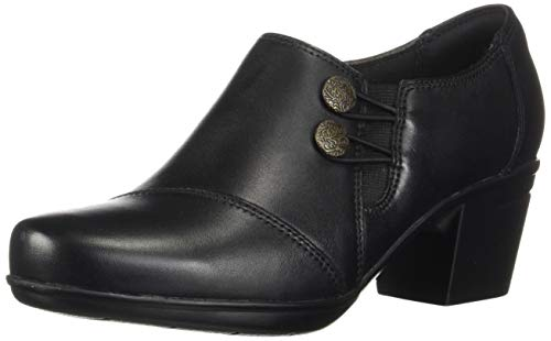 Clarks Women's Emslie Warren Slip-on Loafer,Black Leather,7.5 W US