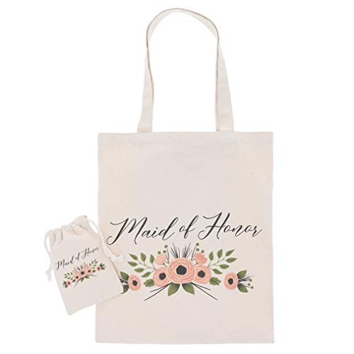 Maid of Honor Gift Set - 1 Cotton Canvas Tote Bag and 1 Drawstring Pouch for MOH, Gift Bags for Bridal Party, Bridal Shower Favors, Rustic Floral Design (Of Maid Honor Tote)