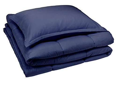 AmazonBasics Comforter Set, Twin / Twin XL, Navy Blue (Navy And Gray Twin Comforter)