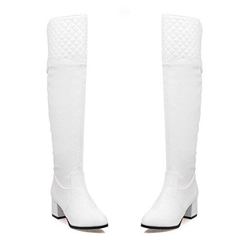 AgooLar Damen Schließen Zehe Blend-Materialien Stiefel Weiß-Anhänger