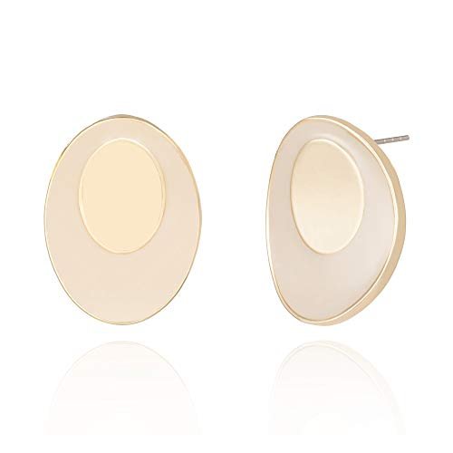 - Gold Stud Earrings 14K Gold Plated Enamel Bending Small Oval Earrings for Women Girls