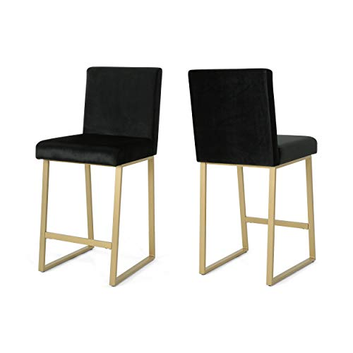 Lexi Modern Velvet Barstools, Black and Brass (Set of 2)