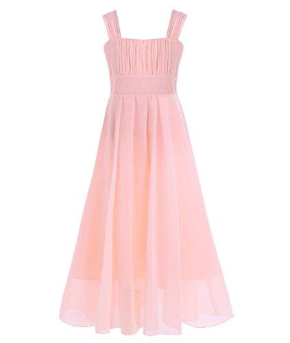 iiniim Girls Chiffon Bridesmaid Wedding Easter Pageant Party Flower Girl Dress Apricot 14 (Teen Christmas Dress)