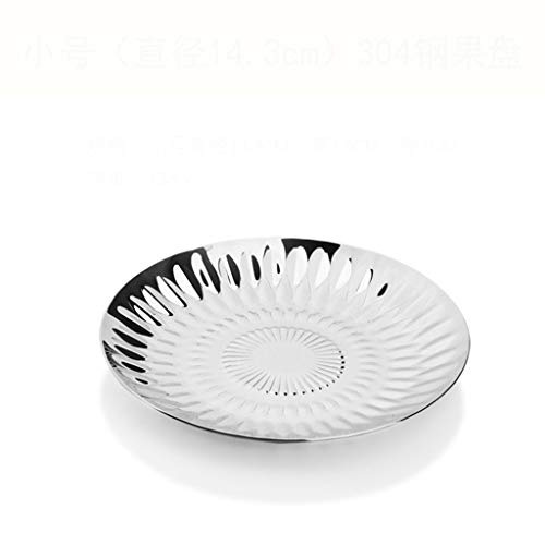 LRW Creative Fashion Stainless Steel Diamond Pattern Fruit Plate Light Disc Nut Pastry Heart Plate Hotel Living Room Candy Snack Plate (Size : S)