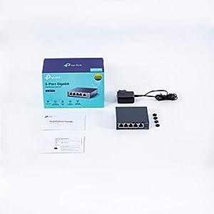 TP-Link 5 Port Gigabit Ethernet Network Switch | Ethernet Splitter | Sturdy Metal w/ Shielded Ports | Plug-and-Play…
