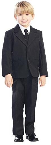 Avery Hill 5-Piece Boy's 2-Button Dress Suit Full-Back Vest - Black XL (18-24 - Hills Black Rings Baby