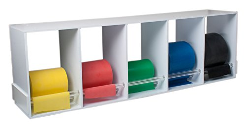 CanDo Dispens-a-Band exercise band rack, wood, 5 rolls, INCLUDING: 5 x 50 yard CanDo low powder set (yellow, red, green, blue, black)