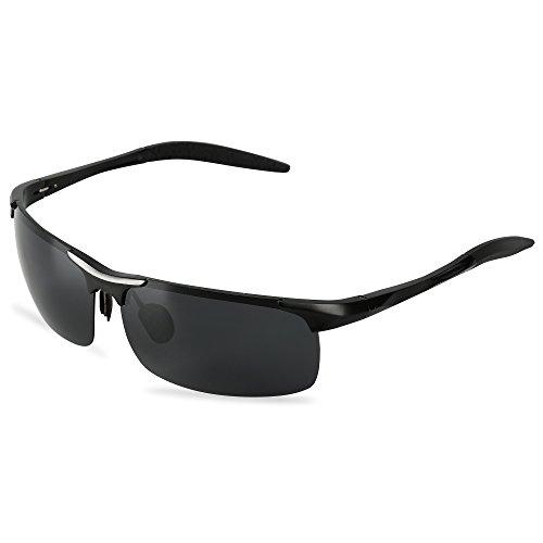 Men's Sports Style Polarized Sunglasses For Driving Fishing Cycling LeadallwayTM (Black frame darkgrey - Cycling Sunglasses Rimless