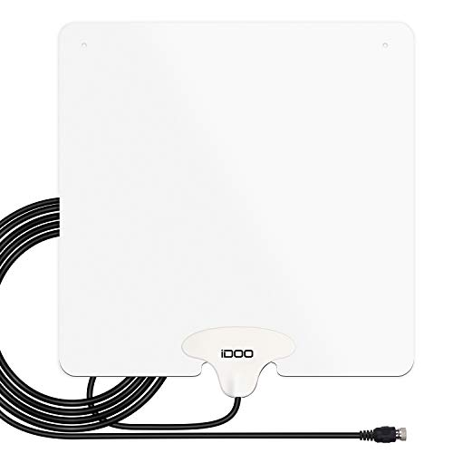 2019 New HDTV Antenna, IDOO Indoor Digital TV Antenna Amplified 65-80 Miles Range with 10FT Coaxial Cable Power Adapter Support 4K 1080P Free View High Definition Local Channels