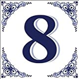 House Numbers Tile Blue and White #8