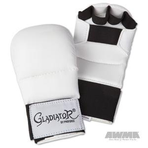 Wkf Karate Mitt - Pro Force Gladiator Karate Sparring Gloves - White - Small