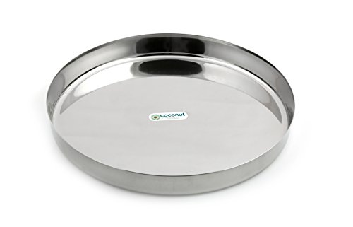 Coconut Stainless Steel Dinner Plate/Thali   1 Qty   9 Inch