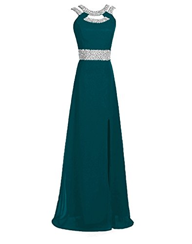 Ruiyuhong Chiffon Sequin Teal Evening Dresses Long Maxi Backless Formal Gown