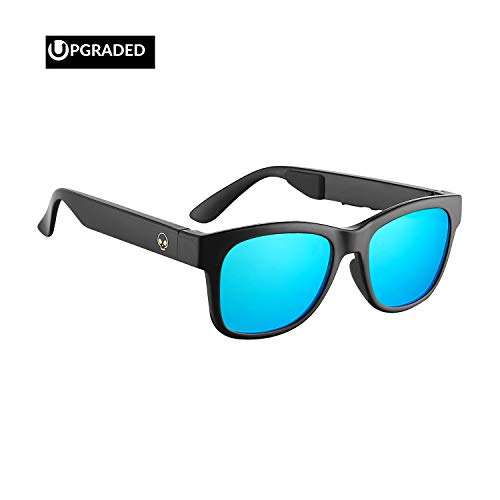 Horizon Outdoor Alien 5 Bone Conduction Glasses Wireless Bluetooth 4.1 Headphones Polarized Sunglasses Myopia Waterproof Wireless Headset Hearing Aid for iOS Android Brilliant Black Frame(Blue ()