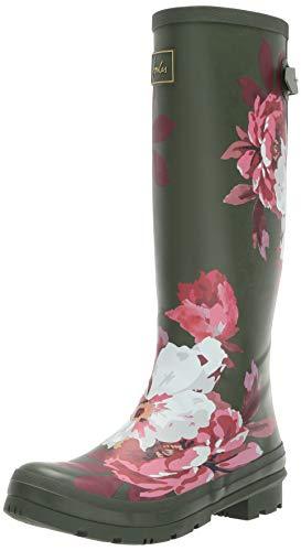 (Joules Women's Welly Print Rain Boot, Grape Leaf Bircham, 3 Medium UK (5 US))