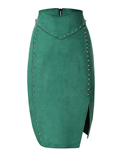 (Bellivera Women's Faux Suede Pencil Skirt Hip Wrapped Back Split for Spring)