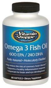 the Vitamin Shoppe - Omega 3 Fish Oil 600 Epa / 240 Dha, 1100 mg, 180 softgels