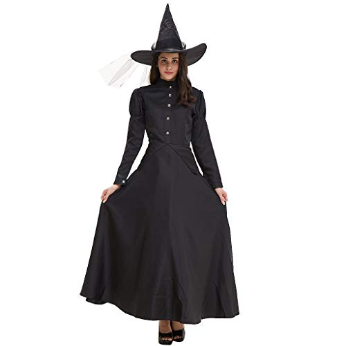 MIS1950s Women's Gothic Maiden Witch Costume with Hat Halloween Cosplay Bewitching Party Dress (XL,