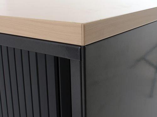 Rolladenschiebet/ür Sideboard 2OH 77x80cm Schwarz// Buche